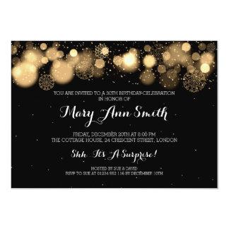 Elegant Winter 30th Birthday Party Gold 13 Cm X 18 Cm Invitation Card