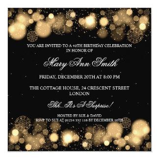 Elegant Winter 40th Birthday Party Gold 13 Cm X 13 Cm Square Invitation Card