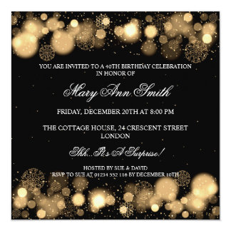 Elegant Winter 40th Birthday Party Gold Card