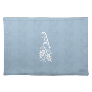 ELEGANT WINTER Frost Blue Holly Monogram Placemat