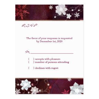 Elegant Winter Glitters Merlot White Wedding RSVP Postcard