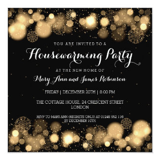 Elegant Winter Housewarming Party Gold Card