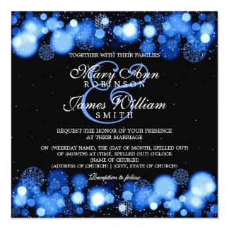 Elegant Winter Wedding Blue Lights 13 Cm X 13 Cm Square Invitation Card