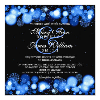 Elegant Winter Wedding Blue Lights Card