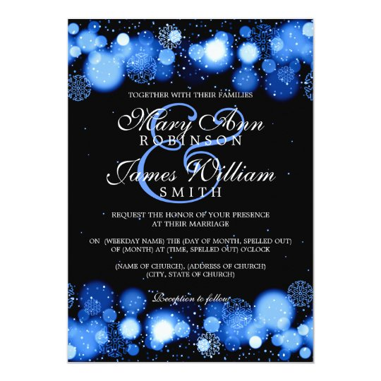 Elegant Winter Wedding Blue Lights Card