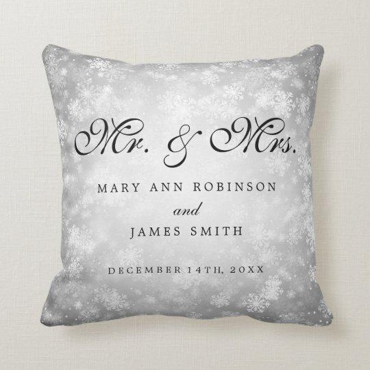 Elegant Winter Wedding Mr & Mrs Favour Silver Throw Pillow