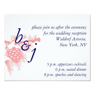 Elegant Winter Wedding Reception Cards Pink Blue