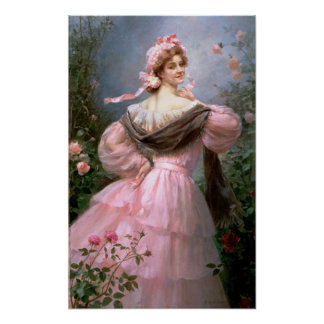 Elegant woman in a rose garden poster