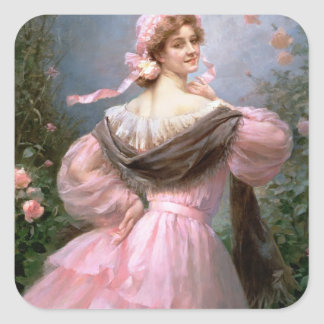 Elegant woman in a rose garden square sticker