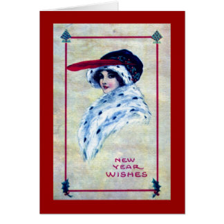 Elegant Woman, New Year Wishes 1915 Vintage Card