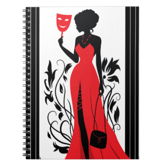 Elegant woman silhouette in red dress with mask spiral note book