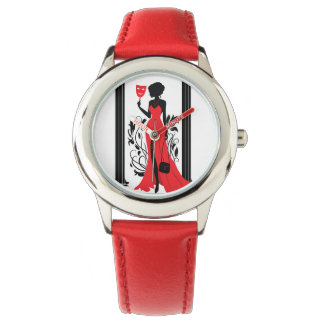 Elegant woman silhouette in red dress with mask watch