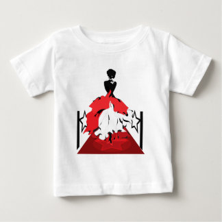 Elegant woman silhouette on red carpet with stars baby T-Shirt