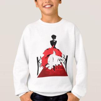 Elegant woman silhouette on red carpet with stars sweatshirt