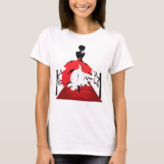 Elegant woman silhouette on red carpet with stars T-Shirt