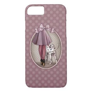 Elegant woman walking her dalmatian puppy dog iPhone 7 case