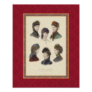 Elegant Women's Hats and Bonnets Victorian Vintage Poster