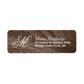 Elegant wood monogram return address return address label