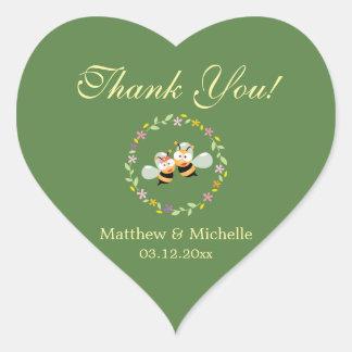 Elegant Woodland Floral Wreath Wedding Thank You Heart Sticker