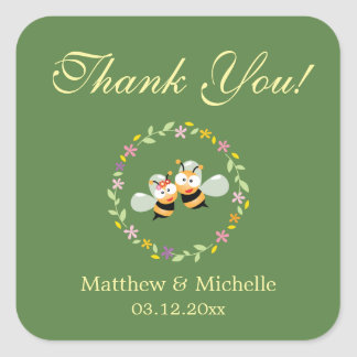 Elegant Woodland Floral Wreath Wedding Thank You Square Sticker