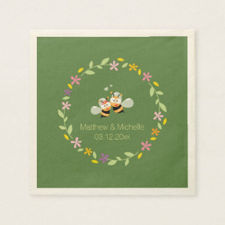 Elegant Woodland Whimsical Floral Wreath Wedding Disposable Napkin