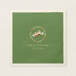 Elegant Woodland Whimsical Floral Wreath Wedding Paper Napkin