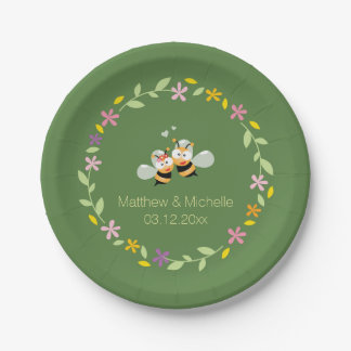 Elegant Woodland Whimsical Floral Wreath Wedding Paper Plate