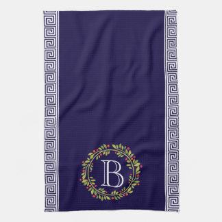 Elegant Wreath Monogram Greek key Pattern Tea Towel