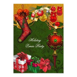 Elegant Xmas Holiday Party Green Gold Gifts Balls 11 Cm X 16 Cm Invitation Card