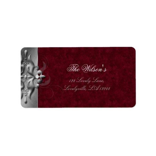 Elegant Xmas Wedding Label Jewels Red Address Label