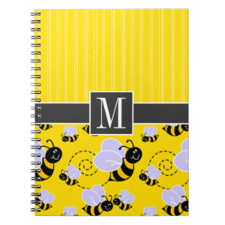 Elegant Yellow & Black Bee Notebook
