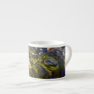 Elegant Yellow Blue Watery Abstract Photograph Espresso Cup