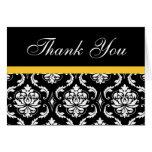 Elegant Yellow Damask Monogram Wedding Thank You Card