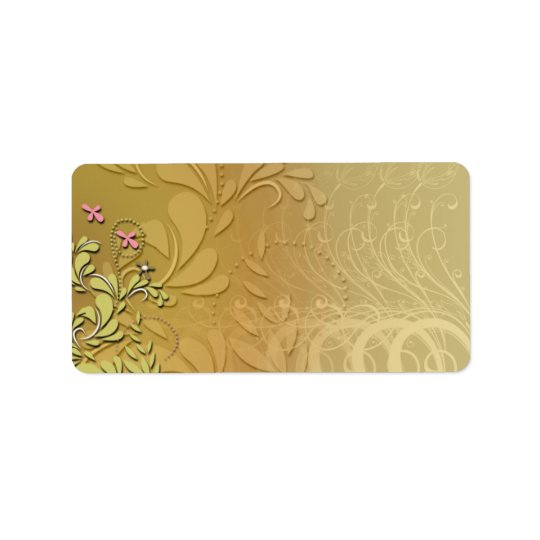 Elegant yellow floral and pink blossom label