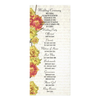 Elegant yellow floral church wedding program customized rack card
