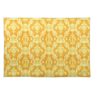 elegant yellow golden damask graphic pattern. place mat