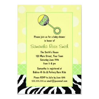 Elegant Yellow & Green with Zebra Baby Shower Card