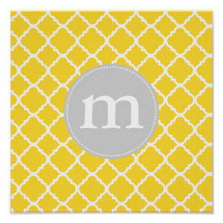 Elegant Yellow Moroccan Quatrefoil Personalized Poster
