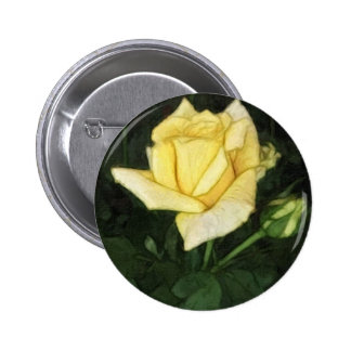 Elegant Yellow Rose 1 Painterly Pinback Button