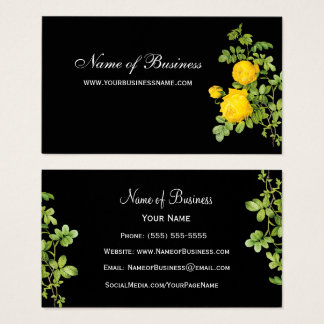 Elegant Yellow Rose Floral Professional Black Business Card