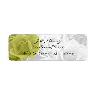 "elegant yellow roses ""on b/w bouquet"" return addre return address label"