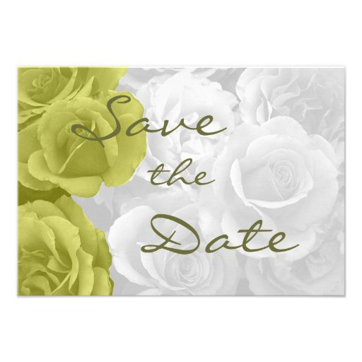 """elegant yellow roses """"on b/w bouquet"""" save the dat personalized invite"""