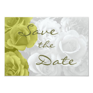 "elegant yellow roses ""on b/w bouquet"" save the dat 3.5x5 paper invitation card"