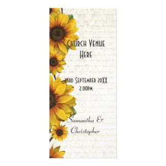 Elegant yellow sunflower church wedding program rack cards