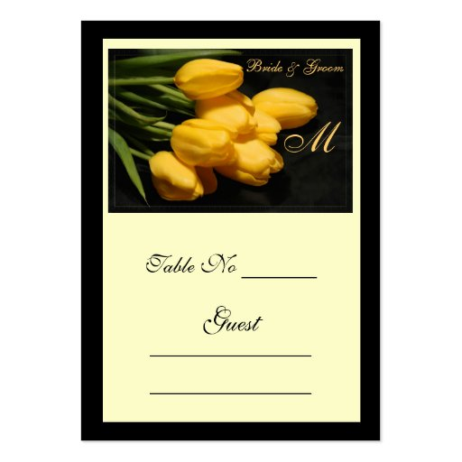 Elegant Yellow Tulip Wedding Table Place Card Business Cards