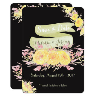 Elegant Yellow Watercolor Rose Save the Dates Card
