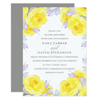 Elegant Yellow Watercolor Roses | Wedding 13 Cm X 18 Cm Invitation Card