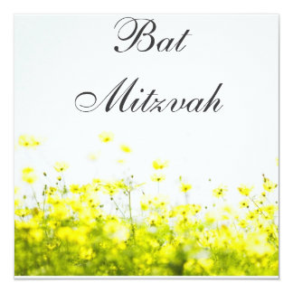 Elegant Yellow Wildflowers Bat Mitzvah Invitation