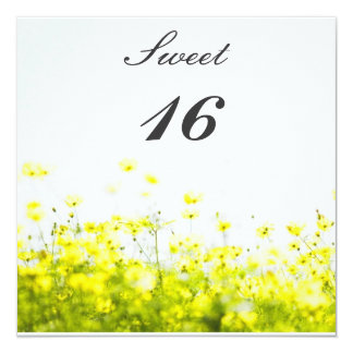 Elegant Yellow Wildflowers Sweet Sixteen Birthday Custom Invitations