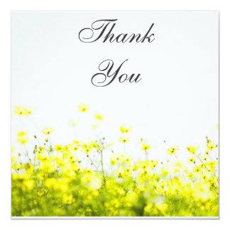 Elegant Yellow Wildflowers Thank You Card Personalized Announcement